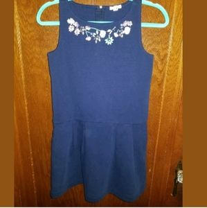 Crewcuts Blue Floral Dress Jeweled Accents Size 12